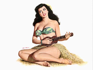 Pinup Poster Brunette Hawaiian Playing The