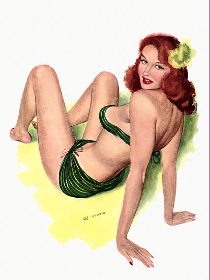 Pin Up Girl Redhead With Green Bikini Poster