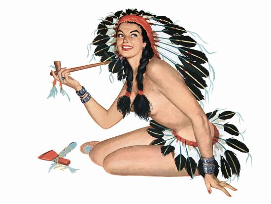 Pinup Poster Brunette Indian Girl With Peace
