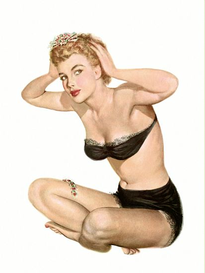 Pin Up Art Blonde In Black Underwear Poster// Pin Up Girl Poster//Pin Up Print