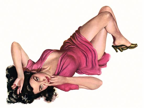 Pinup Girl Brunette With Hot Pink Dress Poster