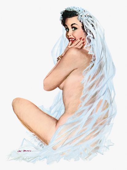 Pinup Poster Brunette With Wedding Veil On