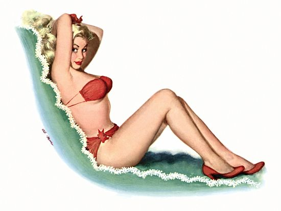 Pinup Girl Blonde Beauty In Red Bikini Poster