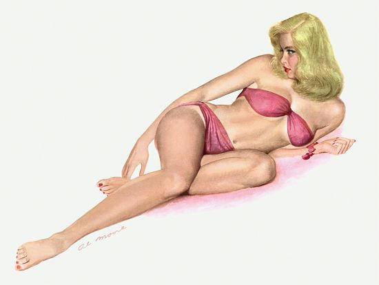 Pinup Poster Blonde With Pink Bikini