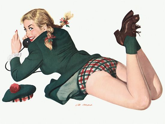 Pinup Girl Blonde With Scottish Outfit Poster