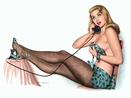 Pinup Poster Blonde With Mesh Stockings On
