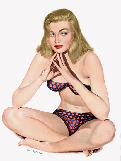 Pin Up Poster Blonde In Polka Dot Bikini