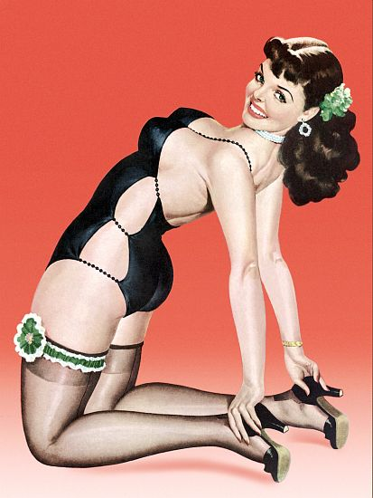 Pin Up Poster Brunette With Cutout Bathing