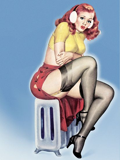 Pin Up Girl Redhead Sitting On Radiator Poster