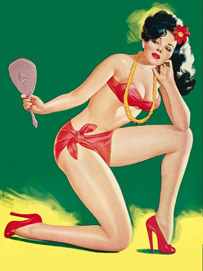 Pinup Girl Brunette With Red Bikini And High Poster