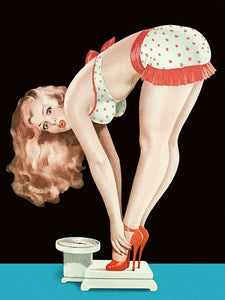 Pinup Poster Blonde Bending Over On A Scale