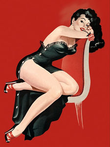Pinup Poster Brunette With Red Rose In Mouth