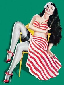 Pin Up Art Brunette With Red Striped Skirt Poster