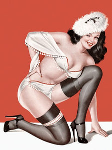 Pinup Girl Brunette With Fuzzy Hat Poster