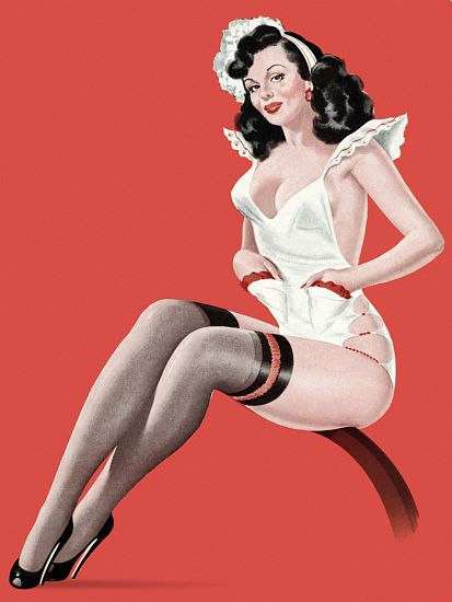 Pin Up Girl Brunette In A Maids Uniform Poster