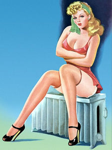 Pinup Girl Blonde Sitting On A Radiator Poster