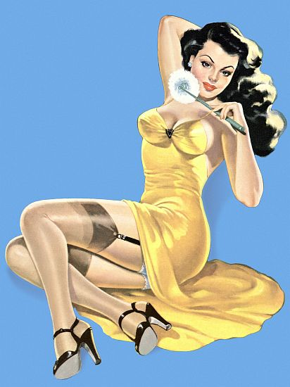 Pinup Girl Brunette Pinup In Yellow Dress Poster