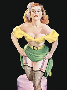 Pinup Girl Redhead Bombshell Showing Garters Poster