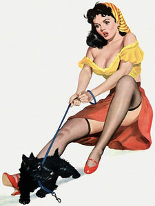 Pinup Poster Brunette With Terrier Puppy