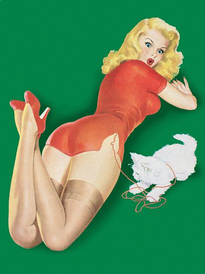 Pin Up Poster Blonde With Kitten Unraveling