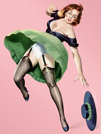 Pinup Poster Redhead With Dress Being Blown