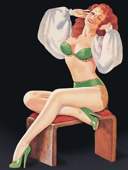 Pinup Poster Redhead Posing On A Stool