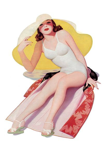 Pinup Poster Redhead With Big Floppy Hat At