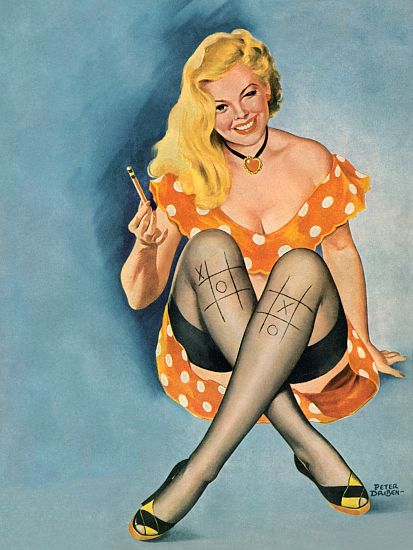 Pin Up Art Blonde Playing Tic Tac Toe On Her Poster