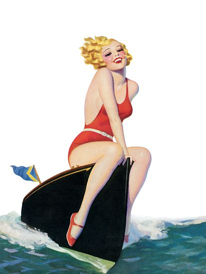 Pinup Poster Blonde Sitting On A Boat