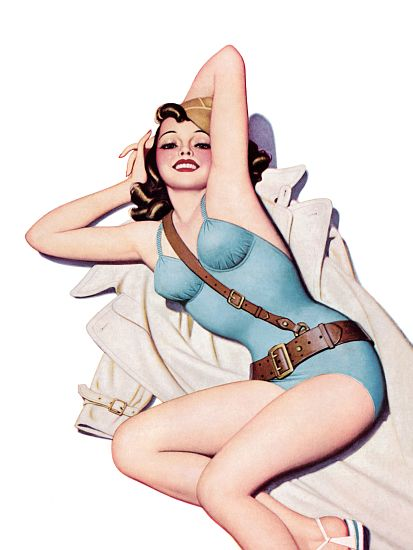 Pin Up Art Brunette With Trench Coat Poster