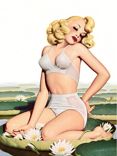 Pin Up Art Blonde Sitting On A Lily Pond Poster