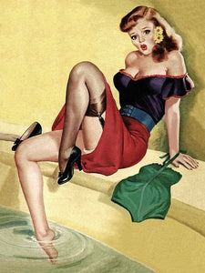 Pinup Girl Sexy Redhead Sitting By Pool Poster