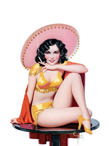 Pin Up Art Brunette In A Sombrero And A Poster