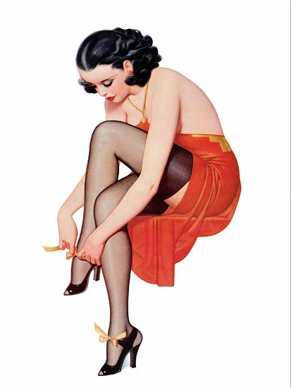 Pin Up Girl Brunette Tying Her Black High Poster