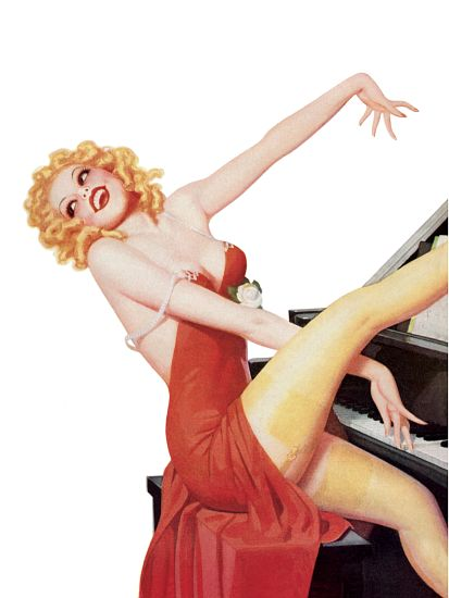 Pinup Girl Blonde Playing Piano Poster