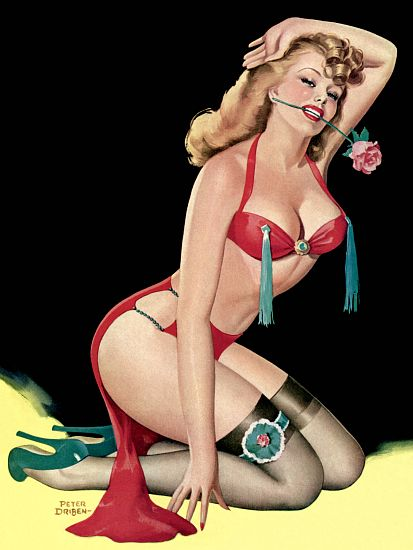 Pinup Poster Sexy Blonde On Knees