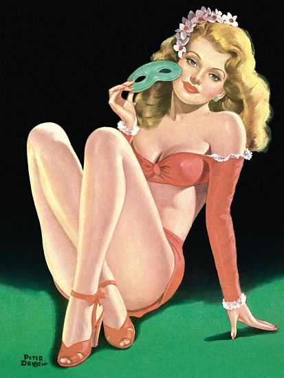 Pin Up Art Blonde With A Mask Poster