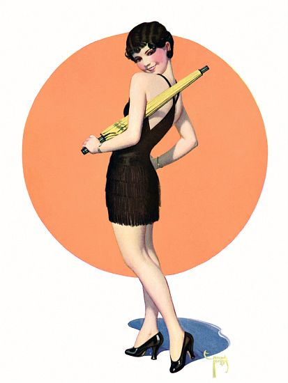 Pin Up Art Brunette With A Yellow Umbrella Poster