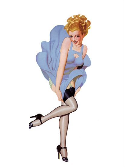 Pinup Girl Blonde With Dress Being Blown Up Poster