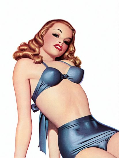 Pin Up Art Redhead In A Blue Bikini Poster