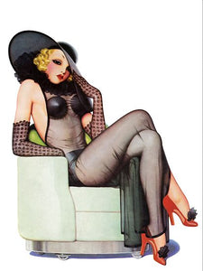 Pinup Girl Blonde With Black Negligee And Poster