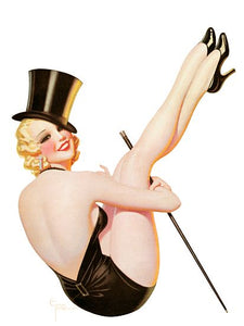 Pinup Poster Blonde With Top Hat And Cane