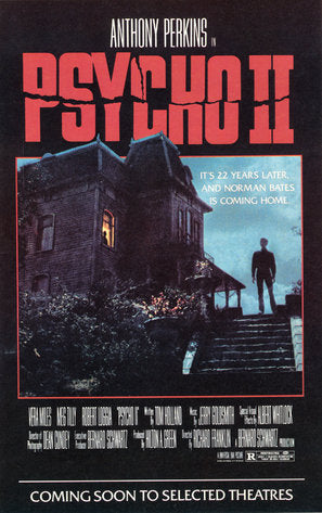 Psycho II Poster//Psycho II Movie Poster//Movie Poster//Poster Reprint