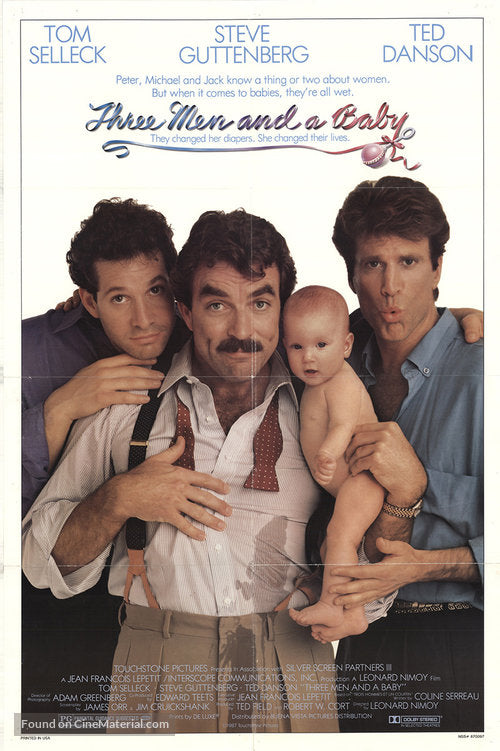 Three Men and a Baby Poster//Three Men and a Baby Movie Poster//Movie Poster//Poster Reprint