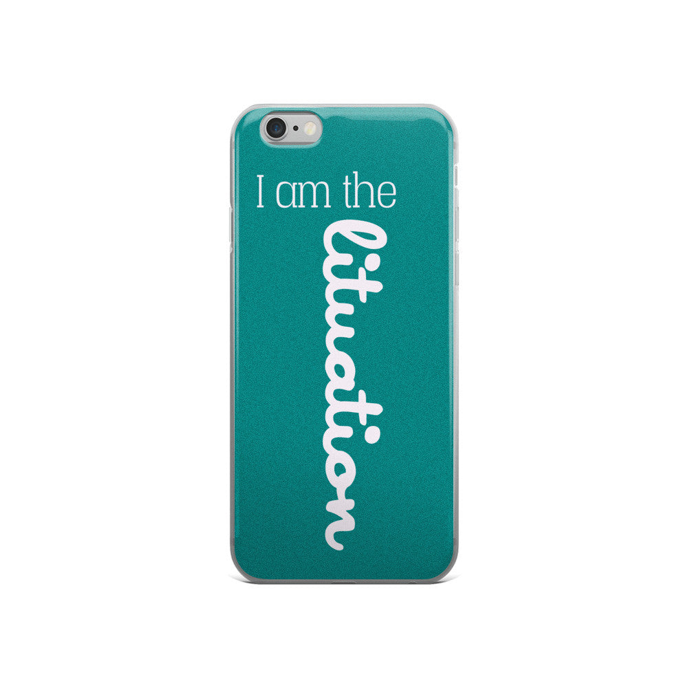 I Am the Lituation Teal iPhone case