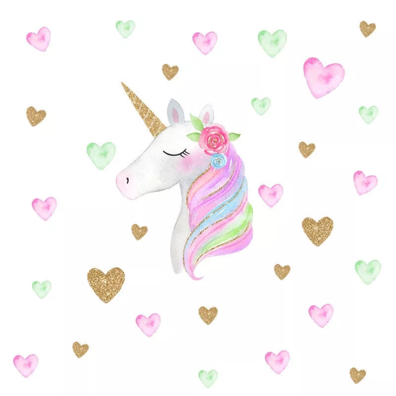 Unicorn & Green Hearts