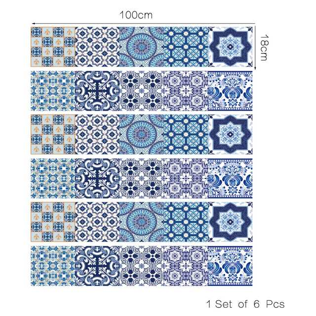 Blue Decorative Strips 18*100cm X 6 strips