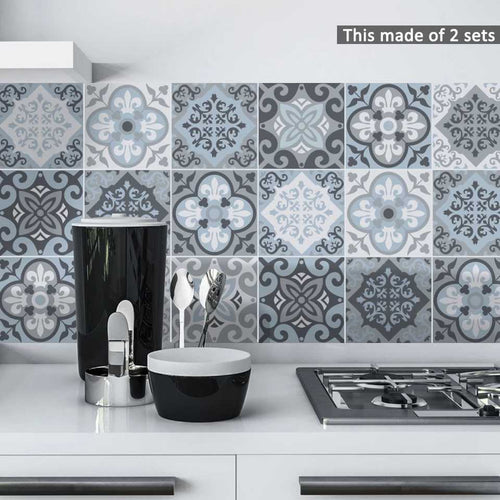 Grayish Blue Tiles Sticker 20*20cm X 10pcs