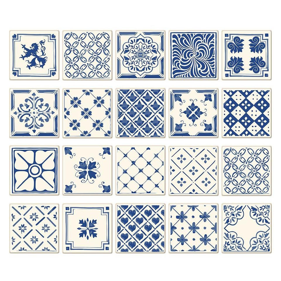 10x10cm Blue and White Tiles