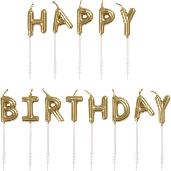 GOLD HAPPY BIRTHDAY PICK CANDLES | Presentimes